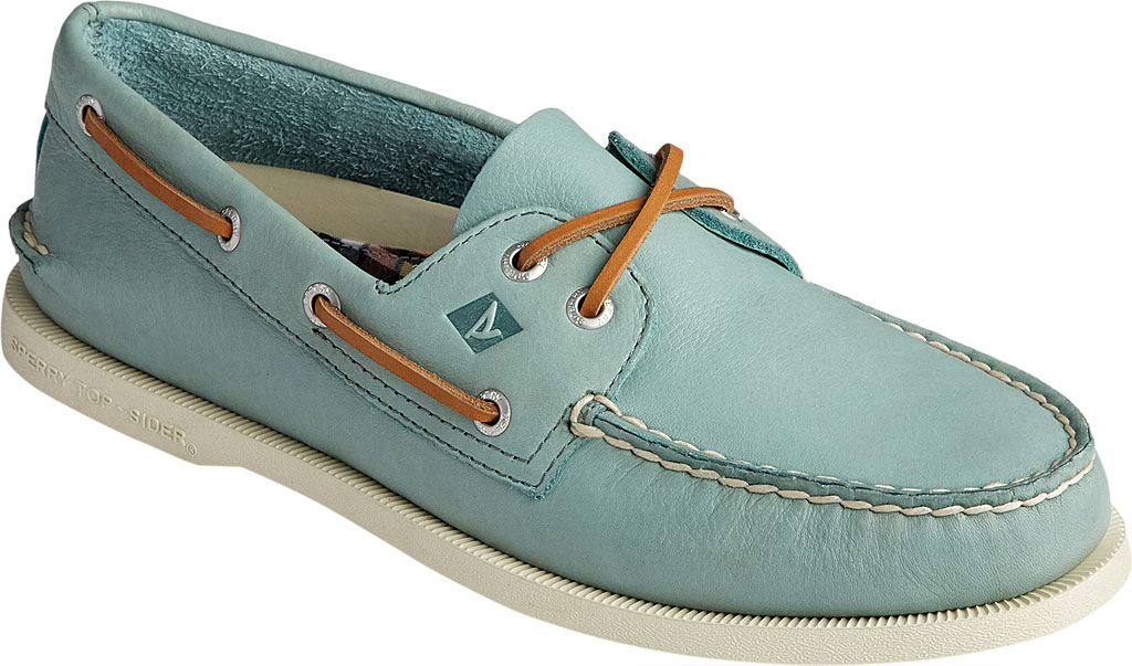 Men's Sperry Top-Sider Authentic Original 2-Eye Whisper Boat Shoe, Green Soft Leather, large, image 1