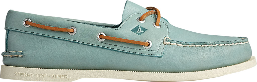 Men's Sperry Top-Sider Authentic Original 2-Eye Whisper Boat Shoe, Green Soft Leather, large, image 2