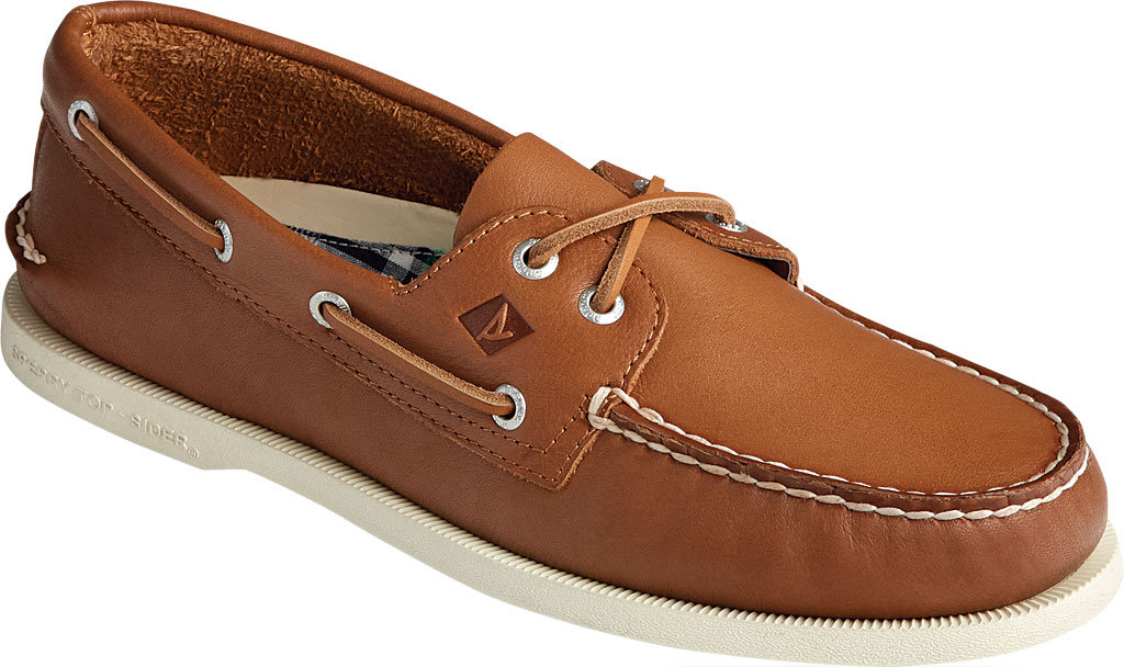 Men's Sperry Top-Sider Authentic Original 2-Eye Whisper Boat Shoe, Tan Soft Leather, large, image 1