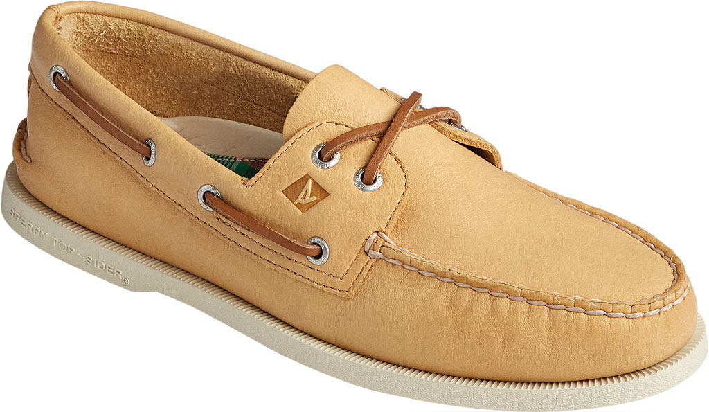 Men's Sperry Top-Sider Authentic Original 2-Eye Whisper Boat Shoe, Yellow Soft Leather, large, image 1