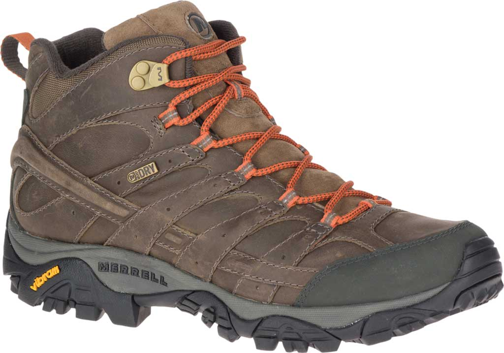 Men's Merrell Moab 2 Prime Mid Waterproof Hiking Boot, Canteen Full Grain Leather, large, image 1