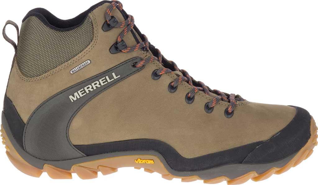 Men's Merrell Chameleon 8 Mid Waterproof Hiking Boot, Olive Nubuck/Mesh, large, image 2