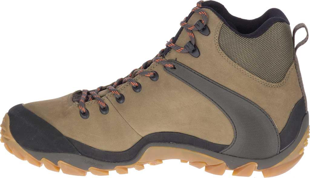 Men's Merrell Chameleon 8 Mid Waterproof Hiking Boot, Olive Nubuck/Mesh, large, image 3