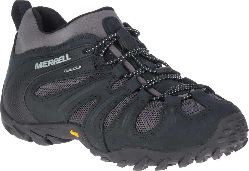 Men's Merrell Chameleon 8 Stretch Waterproof Hiking Shoe, Black/Grey Nubuck/Mesh, large, image 1