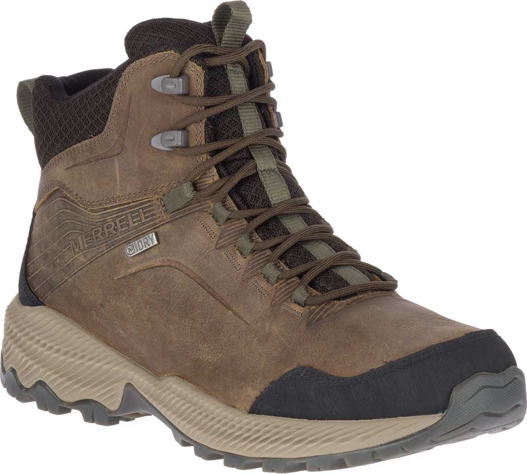 Men's Merrell Forestbound Mid Waterproof Hiking Boot, Cloudy Full Grain Leather/Mesh, large, image 1