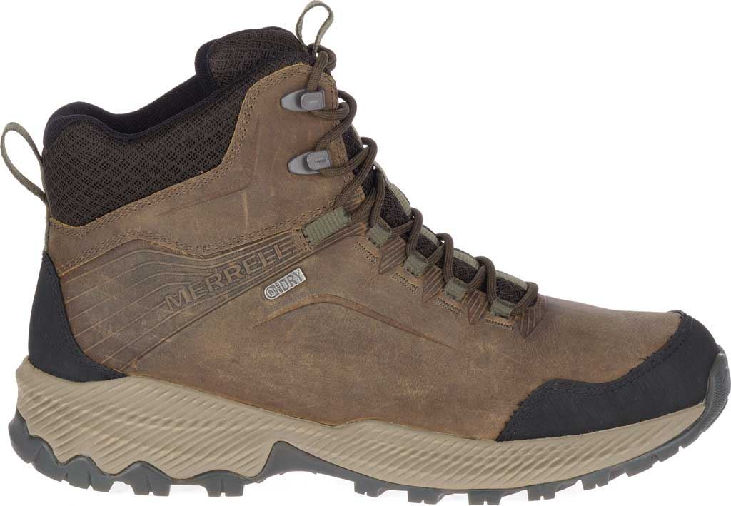 Men's Merrell Forestbound Mid Waterproof Hiking Boot, Cloudy Full Grain Leather/Mesh, large, image 2