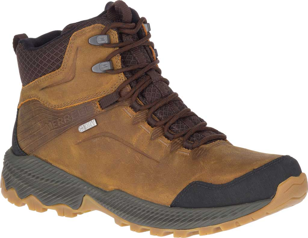 Men's Merrell Forestbound Mid Waterproof Hiking Boot, Merrell Tan Full Grain Leather/Mesh, large, image 1