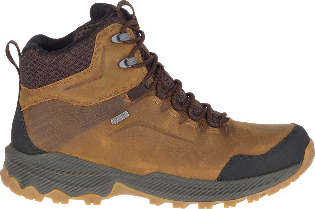 Men's Merrell Forestbound Mid Waterproof Hiking Boot, Merrell Tan Full Grain Leather/Mesh, large, image 2