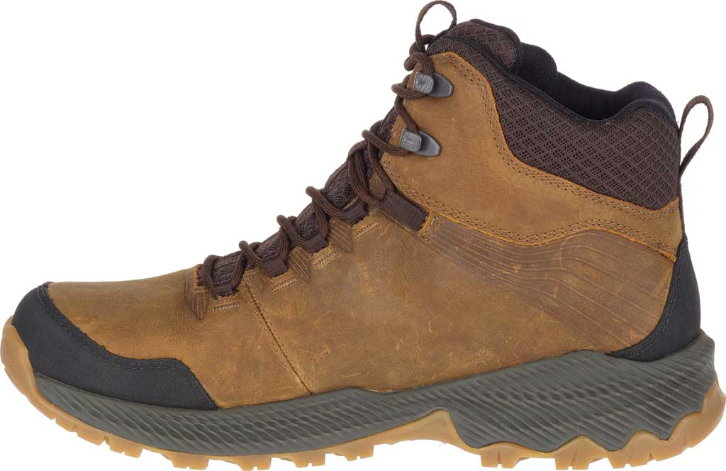 Men's Merrell Forestbound Mid Waterproof Hiking Boot, Merrell Tan Full Grain Leather/Mesh, large, image 3