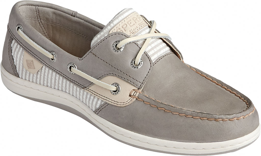 Women's Sperry Top-Sider Koifish Seersucker Stripe Boat Shoe, Cement Textile, large, image 1