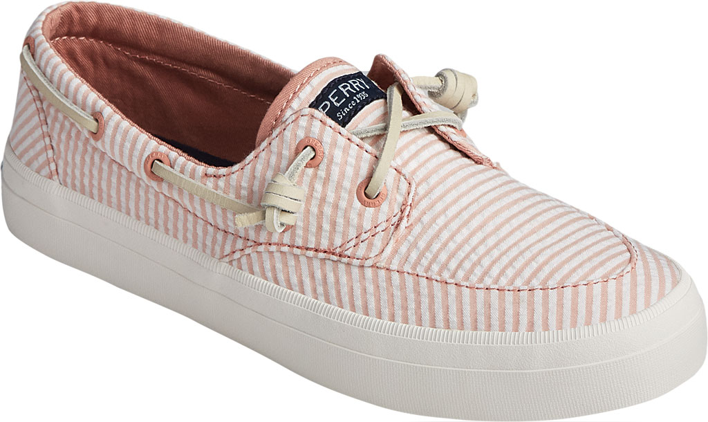 Women's Sperry Top-Sider Crest Boat Seersucker Sneaker, Coral/White Canvas, large, image 1
