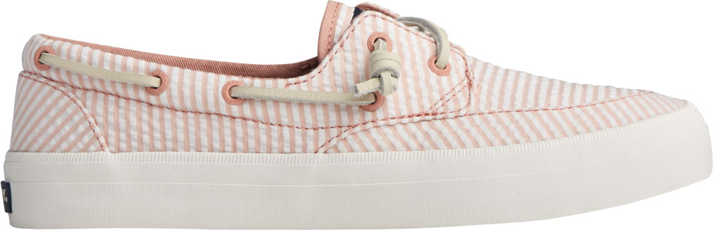 Women's Sperry Top-Sider Crest Boat Seersucker Sneaker, Coral/White Canvas, large, image 2