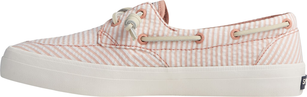 Women's Sperry Top-Sider Crest Boat Seersucker Sneaker, Coral/White Canvas, large, image 3