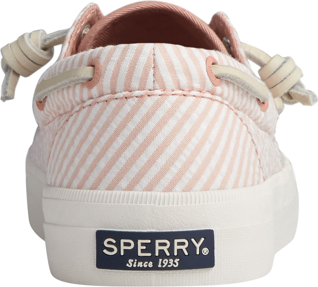 Women's Sperry Top-Sider Crest Boat Seersucker Sneaker, Coral/White Canvas, large, image 4