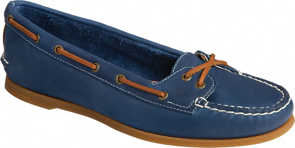 Women's Sperry Top-Sider Authentic Original Skimmer Leather Boat Shoe, Navy Leather, large, image 1