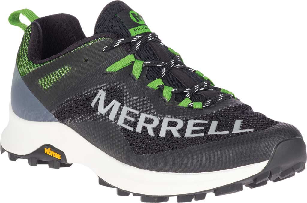 Men's Merrell MTL Long Sky Trail Shoe, Black/Lime Mesh/TPU, large, image 1