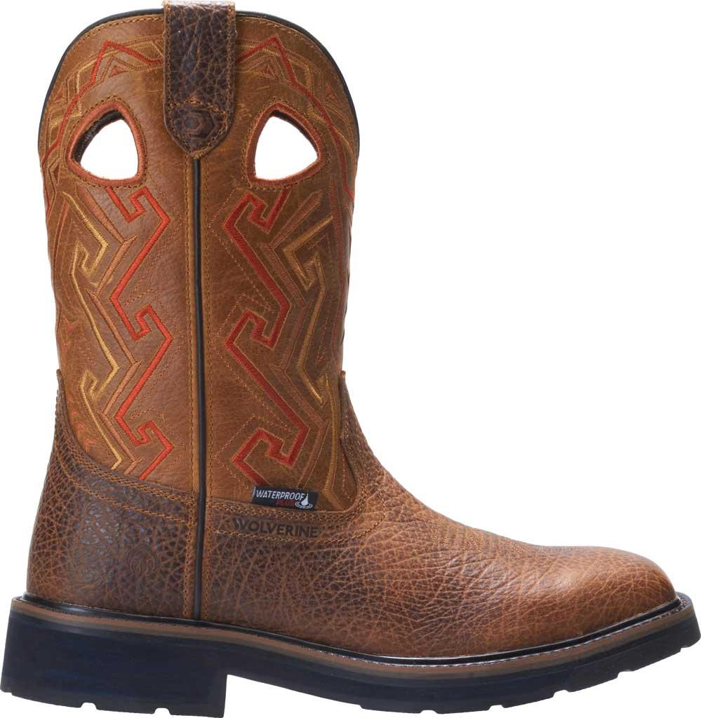 Men's Wolverine Rancher Aztec Steel Toe Cowboy Work Boot, Tan Full Grain Leather, large, image 2