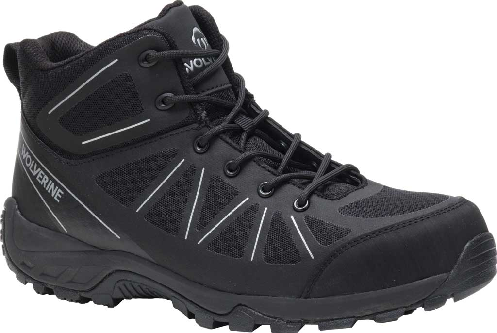 Men's Wolverine Amherst II Mid Composite Toe Work Boot, Black Mesh/TPU, large, image 1