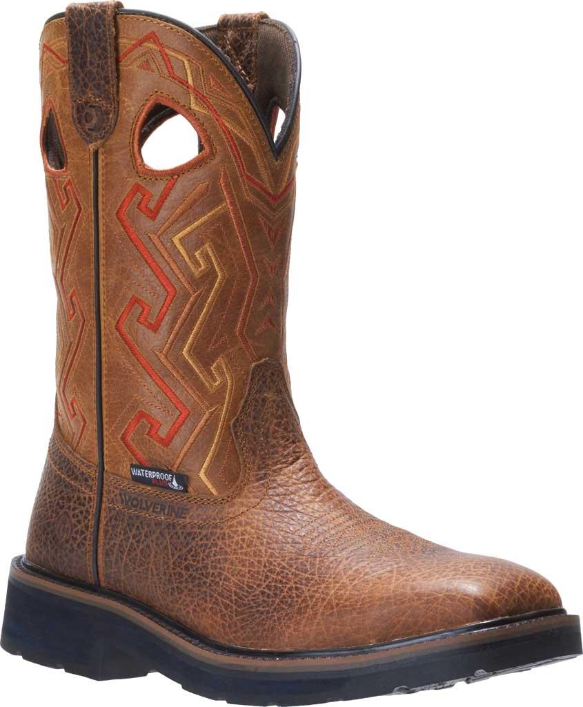 Men's Wolverine Rancher Aztec Cowboy Work Boot, Tan Full Grain Leather, large, image 1