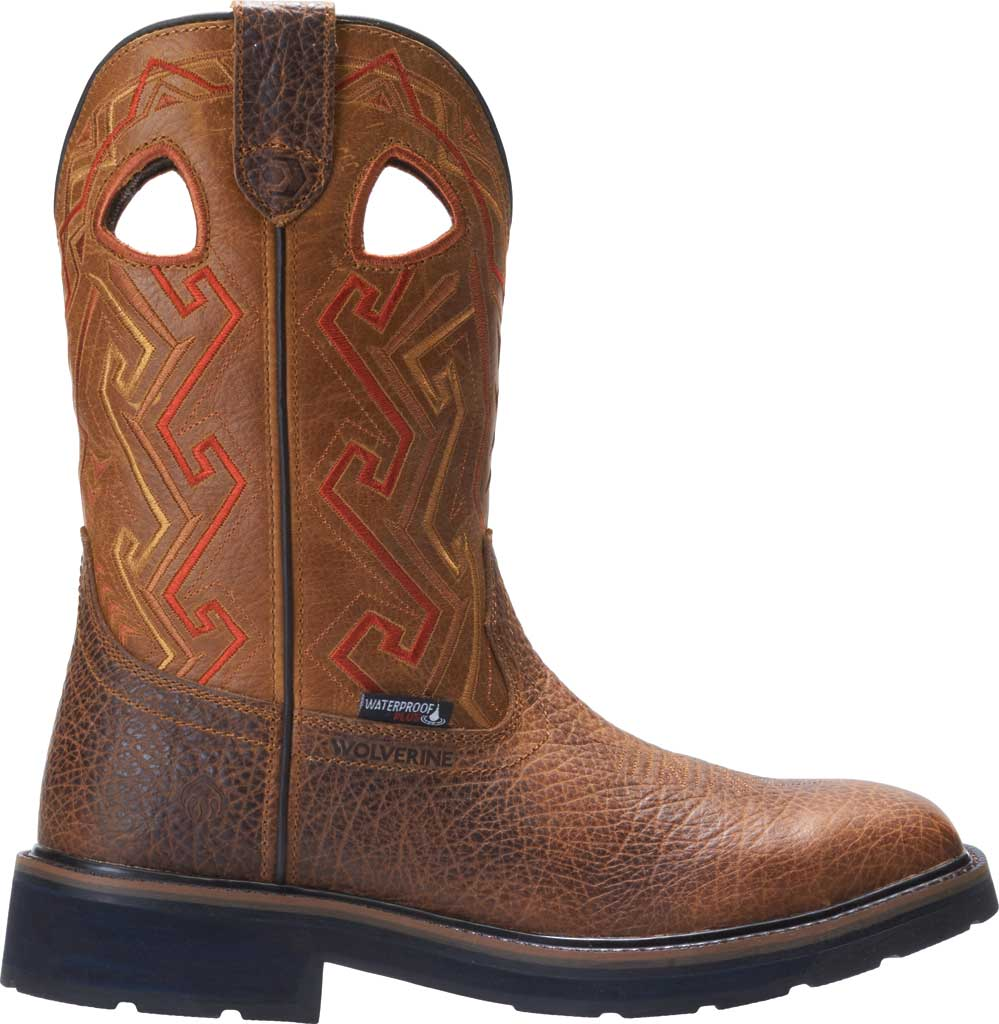 Men's Wolverine Rancher Aztec Cowboy Work Boot, Tan Full Grain Leather, large, image 2