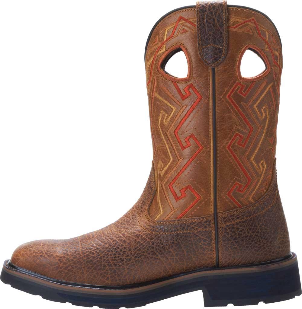 Men's Wolverine Rancher Aztec Cowboy Work Boot, Tan Full Grain Leather, large, image 3