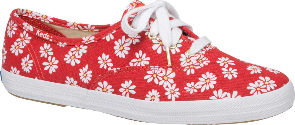 Women's Keds Champion Retro Daisy Canvas Sneaker, Red Canvas, large, image 1