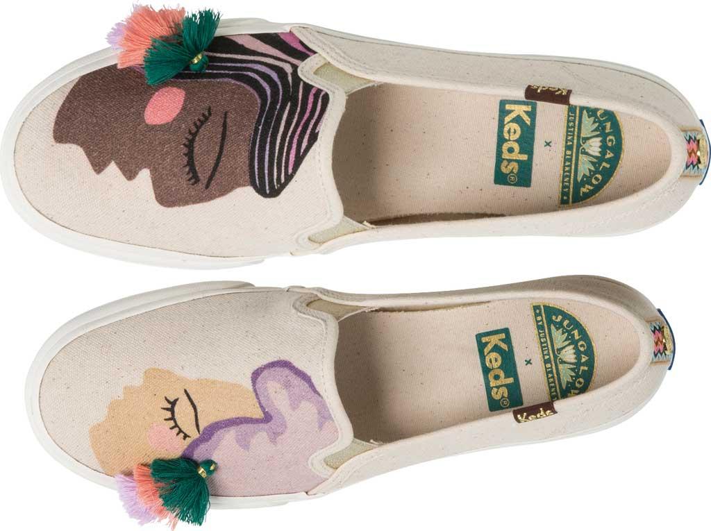 Women's Keds Jungalow Duet Double Decker Canvas Sneaker, Natural Multi Jersey/Gingham Canvas, large, image 4