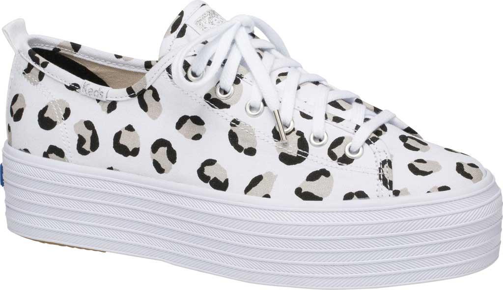 Women's Keds Triple Up Leopard Platform Sneaker, White/Black Canvas, large, image 1