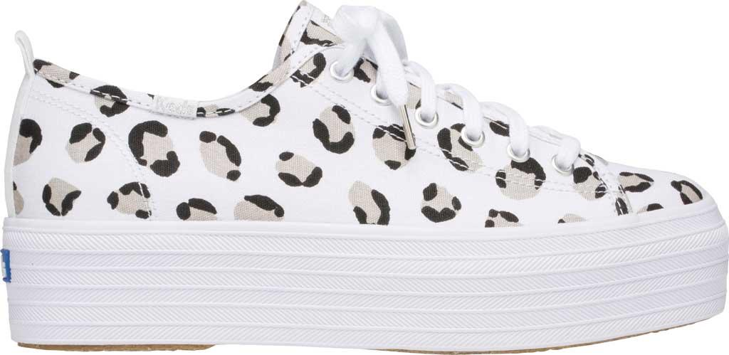 Women's Keds Triple Up Leopard Platform Sneaker, White/Black Canvas, large, image 2