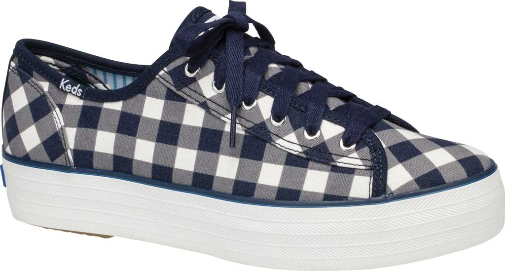 Women's Keds Draper James Dolly Check Triple Kick Sneaker, Navy/White Gingham/Canvas, large, image 1