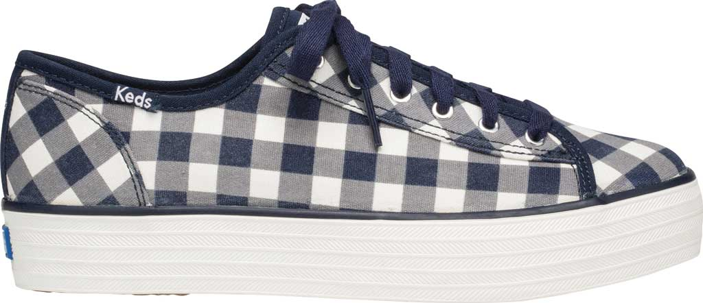 Women's Keds Draper James Dolly Check Triple Kick Sneaker, Navy/White Gingham/Canvas, large, image 2