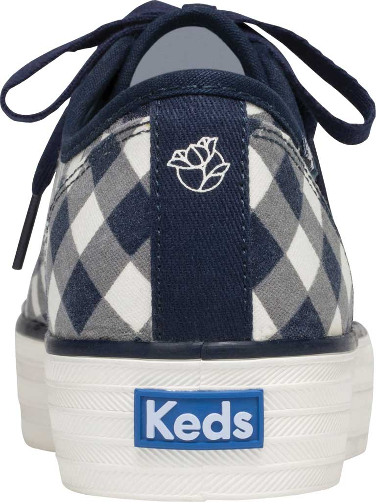 Women's Keds Draper James Dolly Check Triple Kick Sneaker, Navy/White Gingham/Canvas, large, image 3