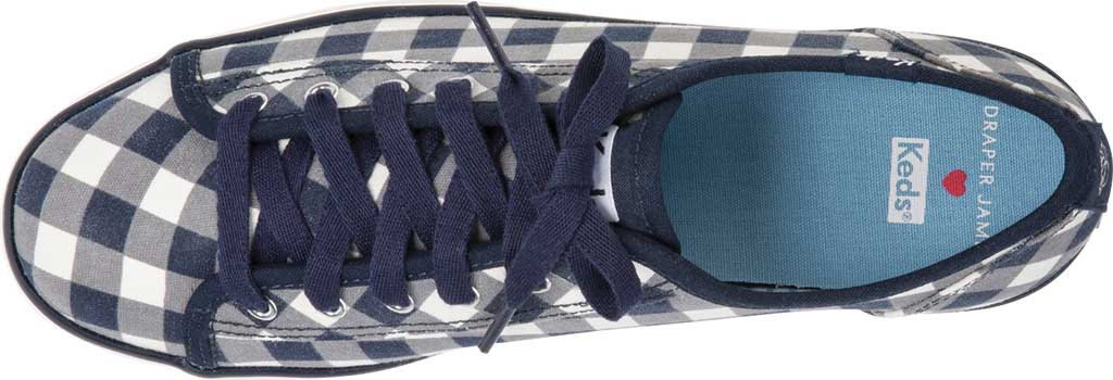 Women's Keds Draper James Dolly Check Triple Kick Sneaker, Navy/White Gingham/Canvas, large, image 4