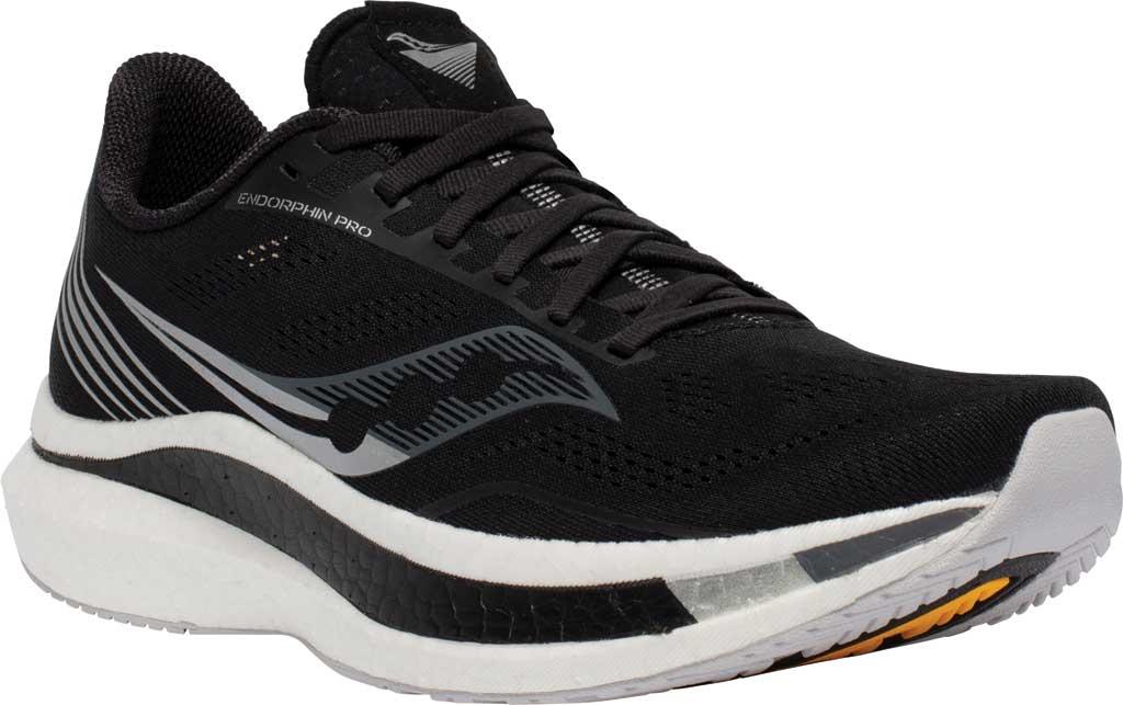 Men's Saucony Endorphin Pro Running Sneaker, Black/Silver, large, image 1