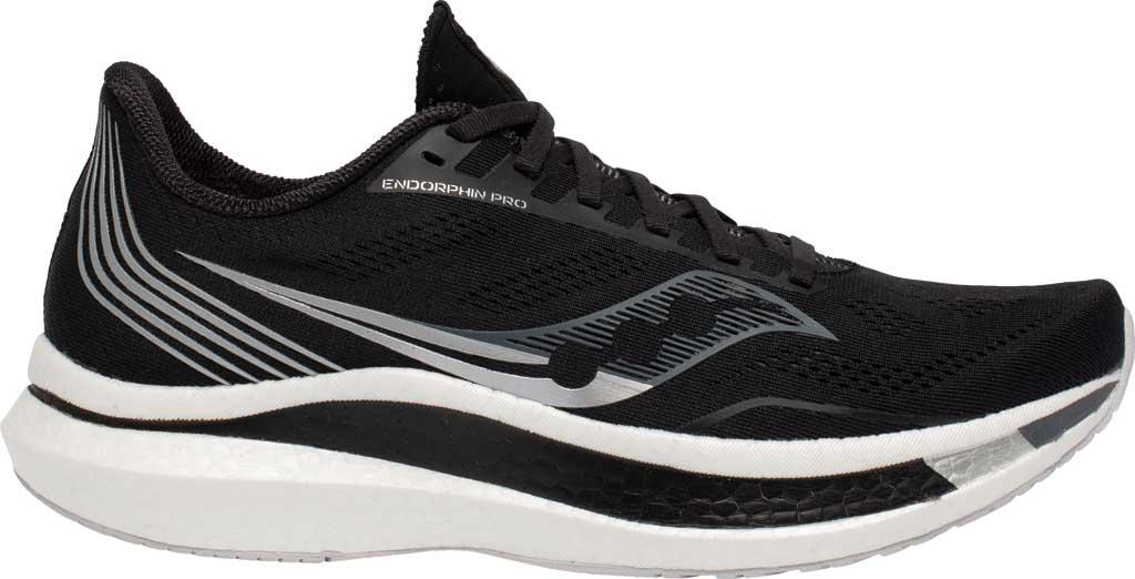 Men's Saucony Endorphin Pro Running Sneaker, Black/Silver, large, image 2