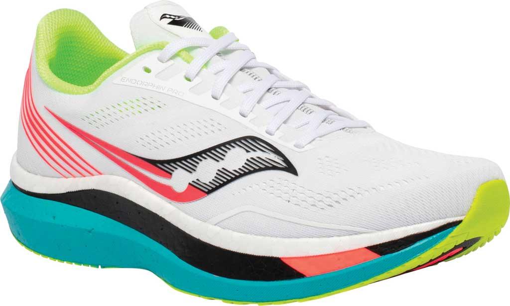 Men's Saucony Endorphin Pro Running Sneaker, White Mutant, large, image 1