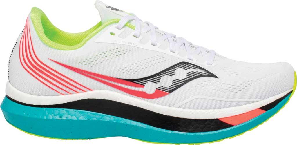Men's Saucony Endorphin Pro Running Sneaker, White Mutant, large, image 2