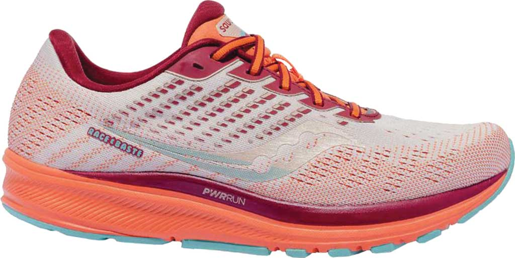 Women's Saucony Ride 13 Running Sneaker, Grey/Orange, large, image 1