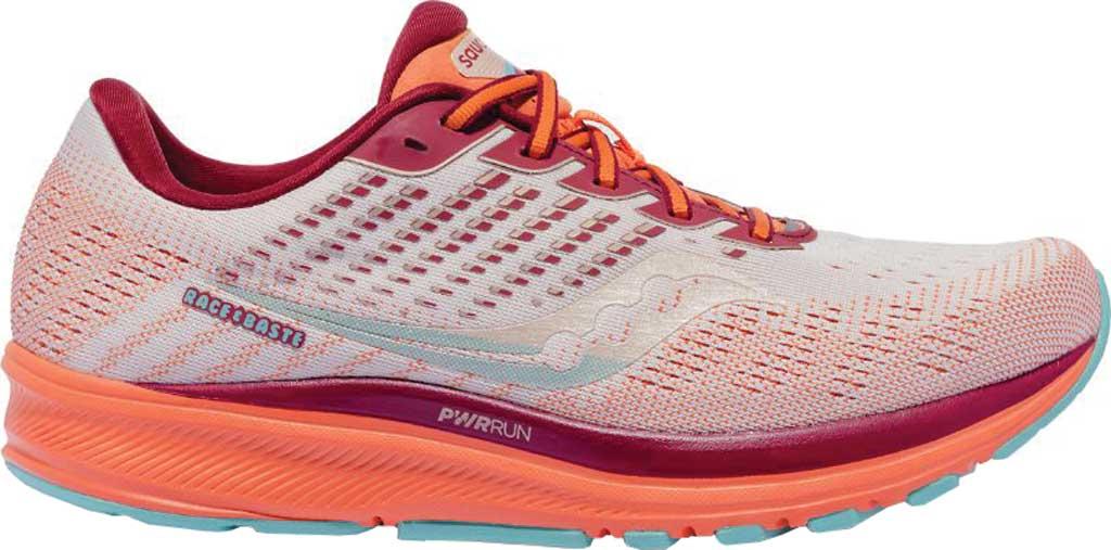 Women's Saucony Ride 13 Running Sneaker, Grey/Orange, large, image 2