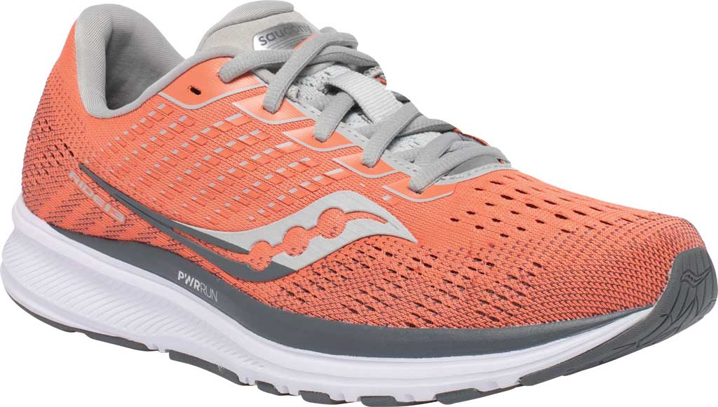 Women's Saucony Ride 13 Running Sneaker, Coral/Alloy, large, image 1