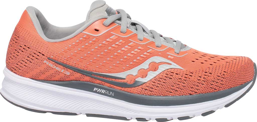 Women's Saucony Ride 13 Running Sneaker, Coral/Alloy, large, image 2