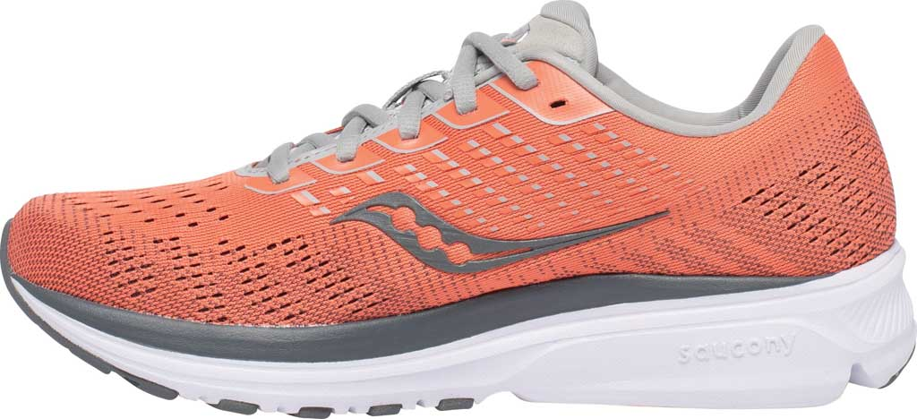 Women's Saucony Ride 13 Running Sneaker, Coral/Alloy, large, image 3