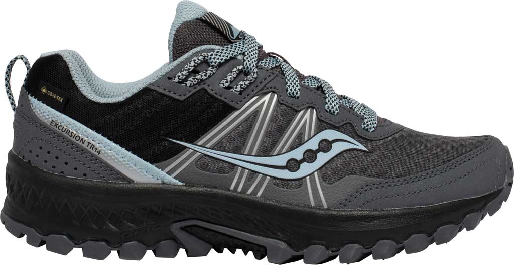 Women's Saucony Excursion TR14 GORE-TEX Trail Running Sneaker, Charcoal/Blue, large, image 2