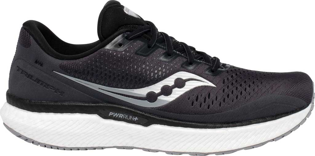 Men's Saucony Triumph 18 Running Sneaker, Charcoal/White, large, image 2