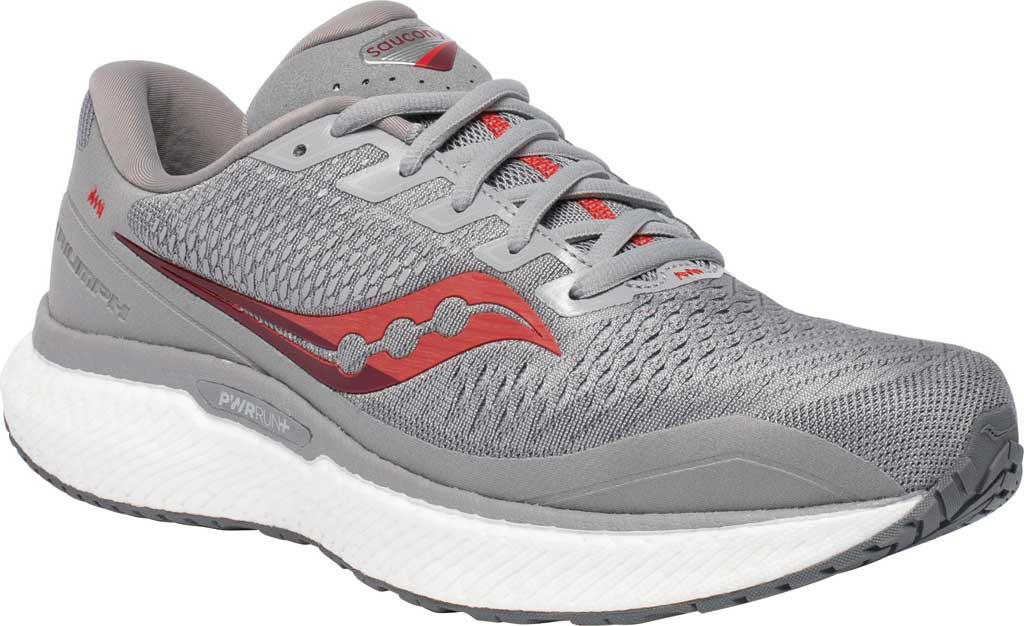 Men's Saucony Triumph 18 Running Sneaker, Alloy/Red, large, image 1