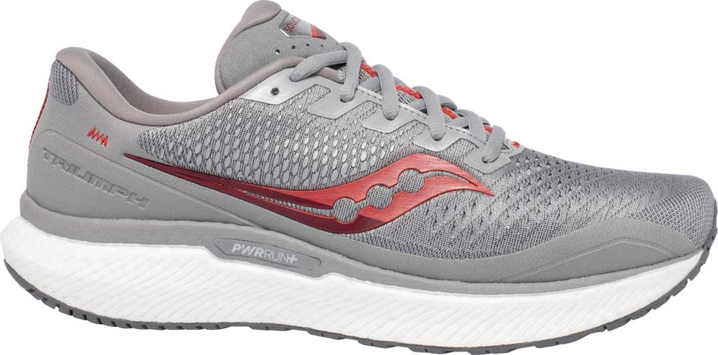 Men's Saucony Triumph 18 Running Sneaker, Alloy/Red, large, image 2