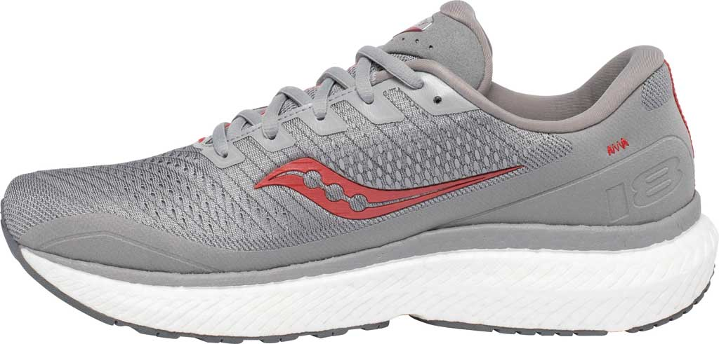 Men's Saucony Triumph 18 Running Sneaker, Alloy/Red, large, image 3