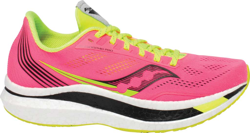Women's Saucony Endorphin Pro Running Sneaker, Vizi/Pink, large, image 2