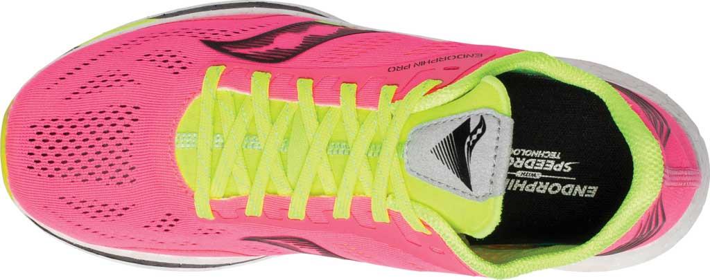 Women's Saucony Endorphin Pro Running Sneaker, Vizi/Pink, large, image 4