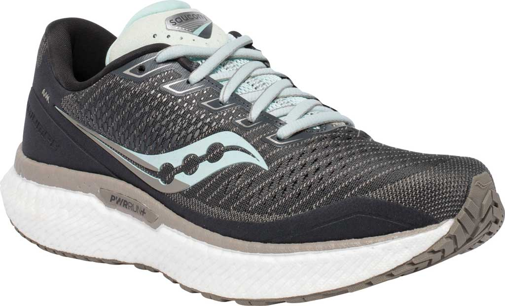 Women's Saucony Triumph 18 Running Sneaker, Charcoal/Sky, large, image 1